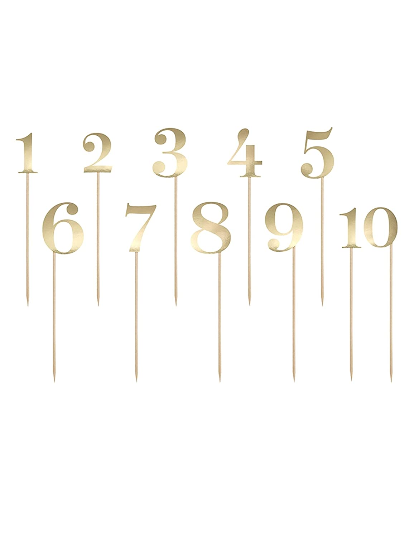 Partydeco Picks - 10 números Dorados para mesas, decoración de ...