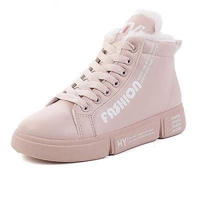 Winterschuhe Damen Leder Sneaker High Hohe Warm Gefüttert tshQrdC