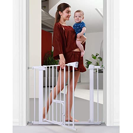 Cumbor 38.5 Auto Close Safety Baby Gate, Extra Tall Durable Dog Gate with Door, Easy Walk-Thru Child Gate for The House, Stairs, Doorways Hallways. Includes 4 Wall Cups 2 2.75- Inch Extension