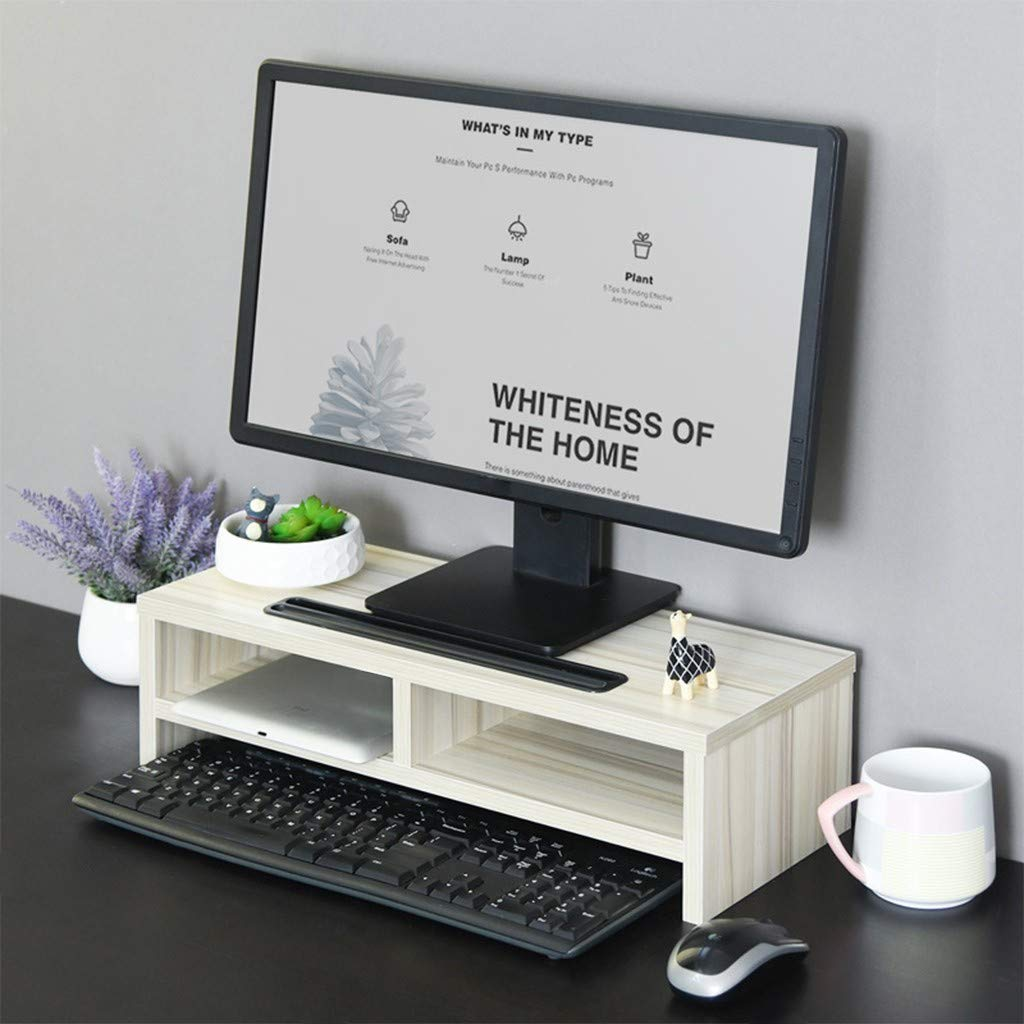 BLACKOBE Monitor Riser Computer Stand Office Desktop Keyboard Simple Adjustable Storage Shelf Organizer with Groove, Black and White (White) 19.7 x 7.9 x 5.3 in by BLACKOBE