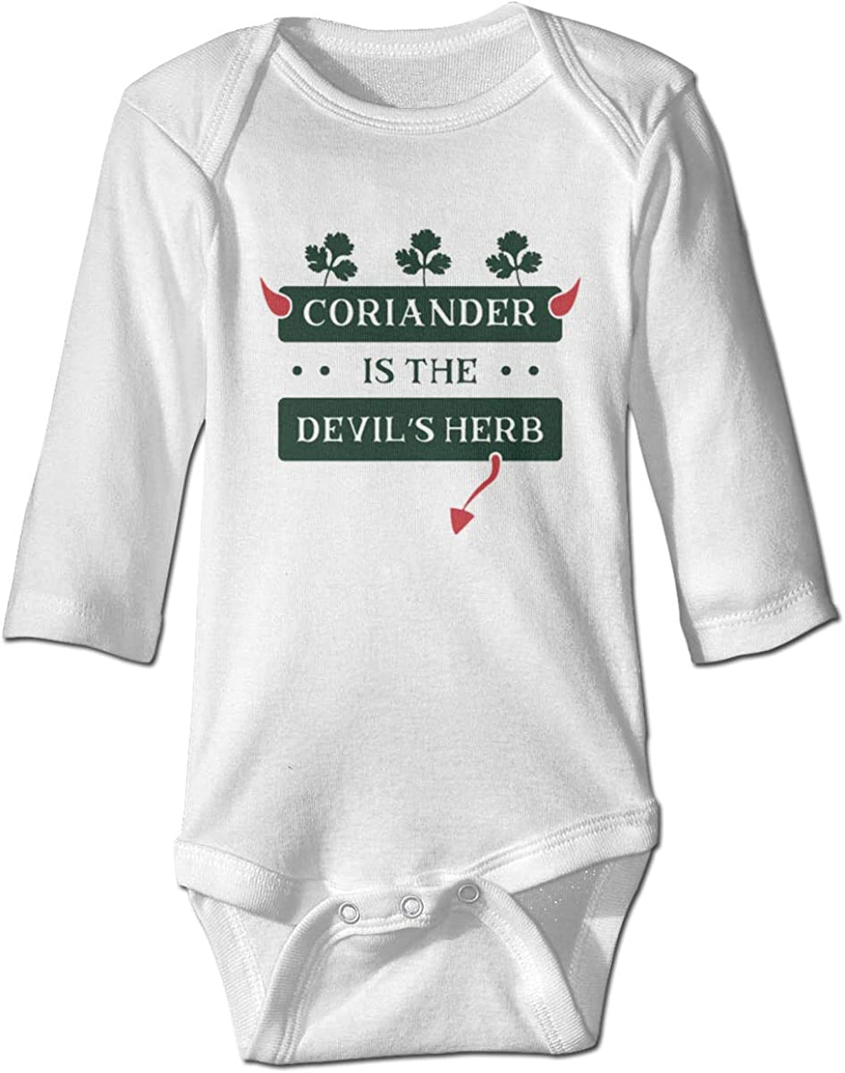 Marsherun Infant Babys Girl Boy Coriander is The Devils Herb Long Sleeve Climbing Bodysuits Playsuit