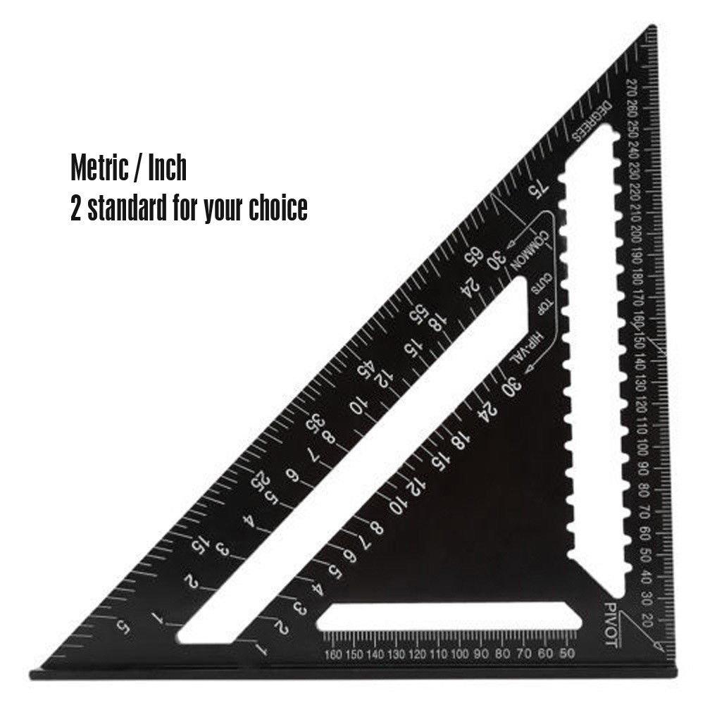 Espeedy Escuadra de dibujo,7 pulgadas /ángulo transportador de aleaci/ón de aluminio Mitre indicador de velocidad de carpintero cuadrada regla de medici/ón