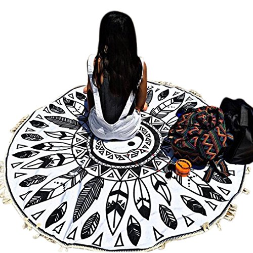 Oksale® Round Tassels Hippie Tapestry Beach Cover Up, 59 × 59 Inch ,Blanket Table Cloth, Boho Roundie Mandala Throw Swimming Towel Kimono Suit Tunic (Beaded Linen Tunic)
