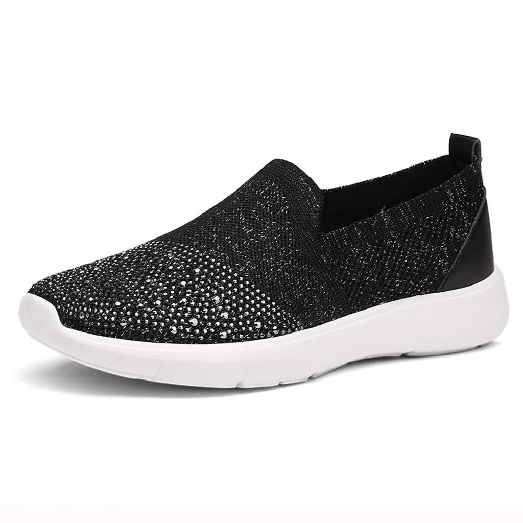 Fashion Respctful ♫♫Womens Casual Walking Canvas Sneaker Shoes Slip On Comfort Flats Sneakers Black