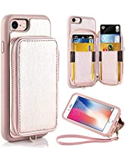 ZVE Case for Apple iPhone 8 and iPhone 7, 4.7 inch, Leather Wallet Case with Credit Card Holder Slot Zipper Wallet Pocket Purse Handbag Wrist Strap Protective Cover for Apple iPhone 8/7