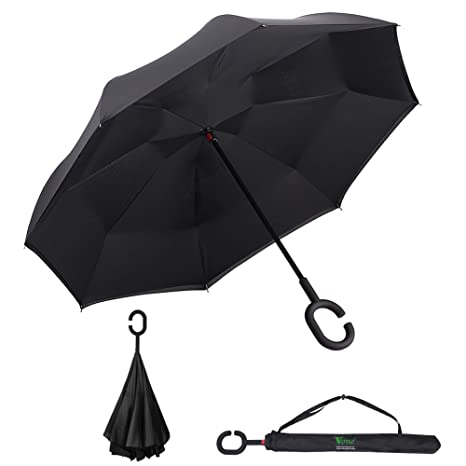 V.one Folding Reverse Windproof Double Layer Inverted C-Shaped Handle Umbrella with UV