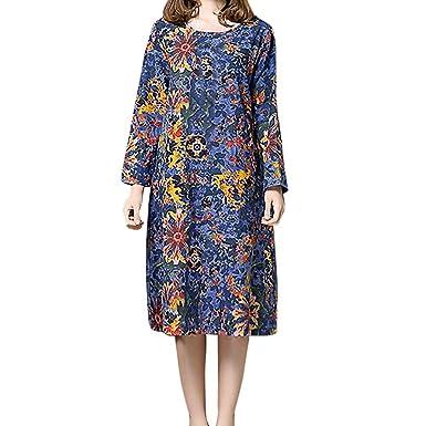 fe8416d447 Vestido Largo Flojo de algodón y Lino con Estampado de Flores de Manga  Larga para Mujer  Amazon.es  Ropa y accesorios