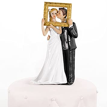 Hochzeitstortenfiguren Goldener Bilderrahmen 14 5 Cm Tortenfiguren