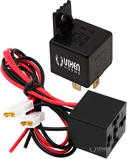 Vixen Horns 4-PIN Horn Relay 30A/12V with 4-PIN Pre-Wired Quick Connect on