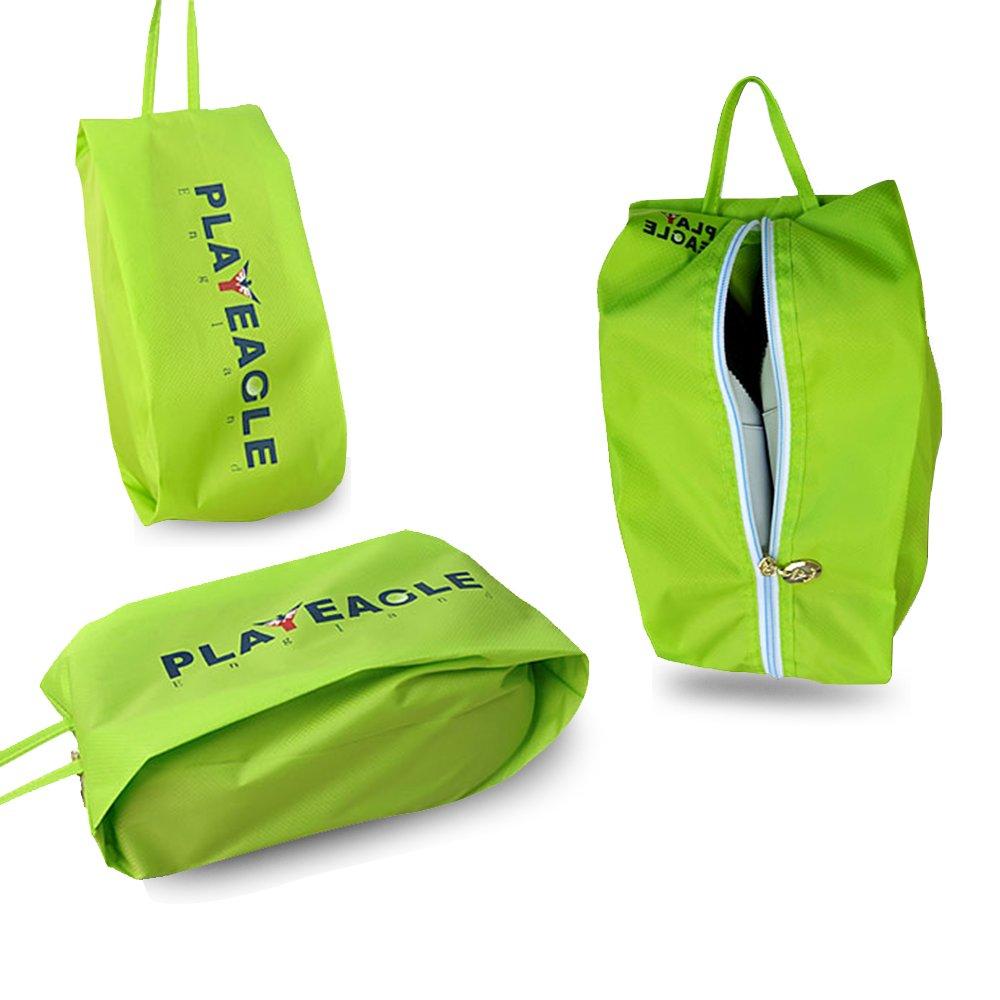 playeagle 3 pcs /設定防水PVC Protableゴルフシューズバッグファスナースポーツバッグシューズケースfor Men and Women B06XHHX13J グリーン