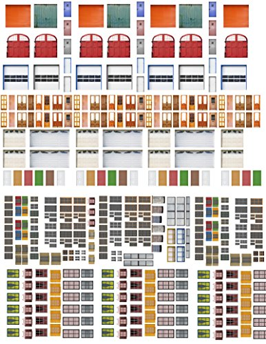 Model Train Scenery Sheets - N Scale Doors and Windows (5 Sheets)