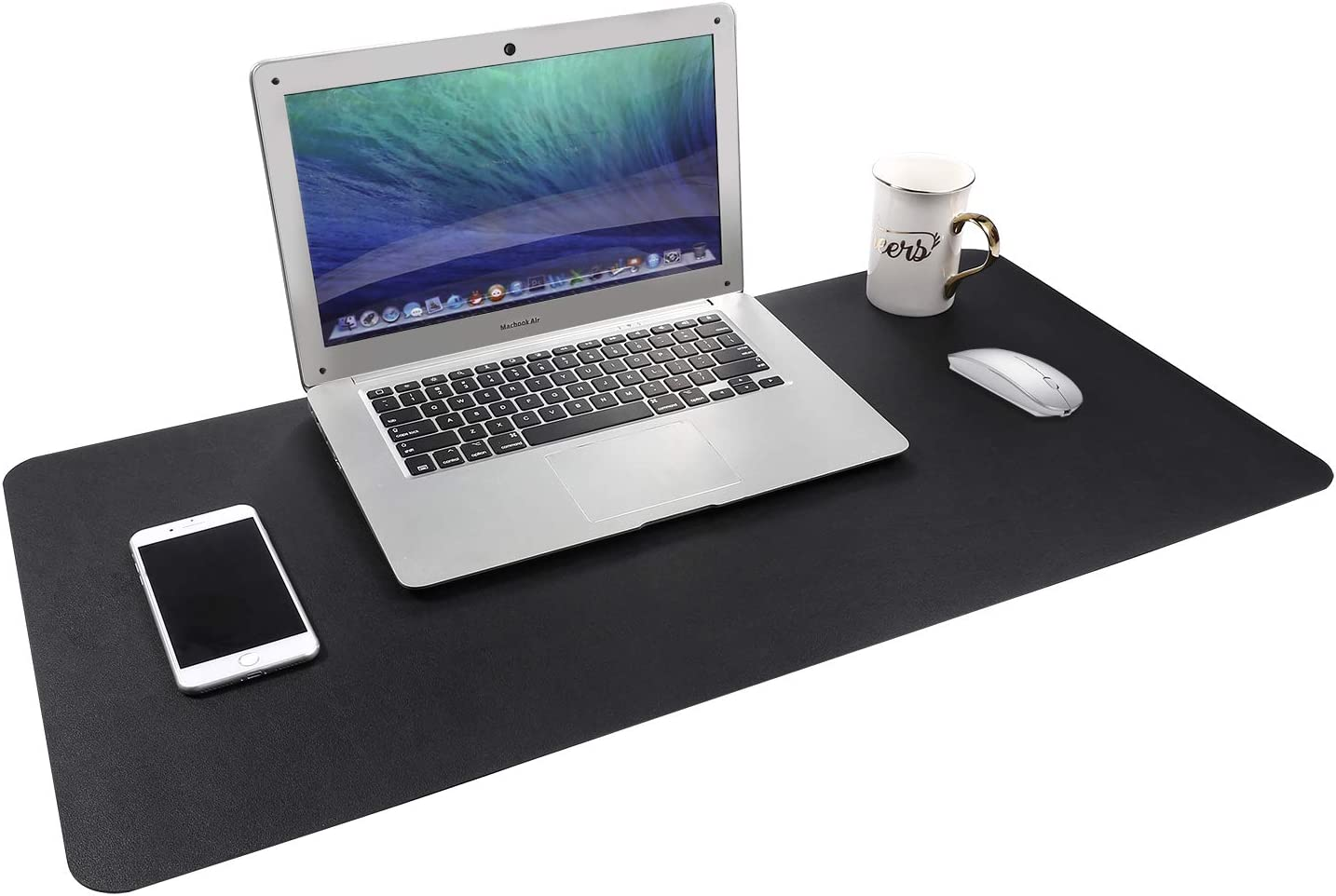 "Gogloo Multifunctional Office Desk Pad, Dual Sided PU Leather Mouse Pad, Thin and Waterproof Desk Blotter Protector, Desk Writing Mat for Office/Home (Black, 31.5"" x 15.7"")"
