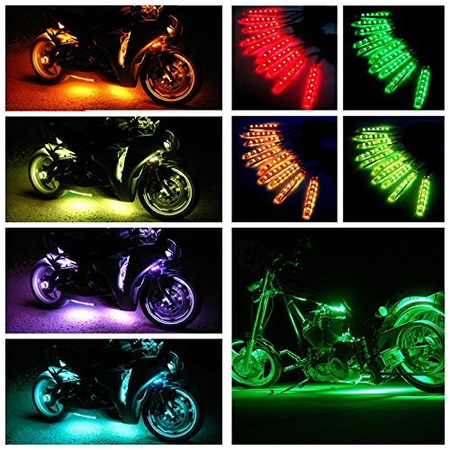 Skyrc Million Colors Accent Neon 102 LED lights 10pcs 15 Colors RGB LED Flexible Motorcycle Lights Kit with Wireless Remote - A Sunglasses Million