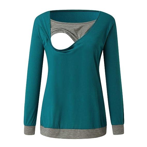 Topgrowth Maglietta Premaman Maglia a Maniche Lunghe Donna Felpa Allattamento Incinta maternit/à Assistenza Infermieristica T-Shirt