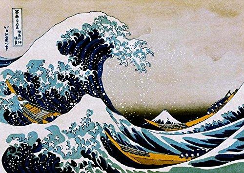 Buyartforless The Great Wave Off Kanagawa 1830 by Katsushika Hokusai 36x24 Art Print Poster Japanese Block Print Vibrant Colors (Japanese Block Prints)