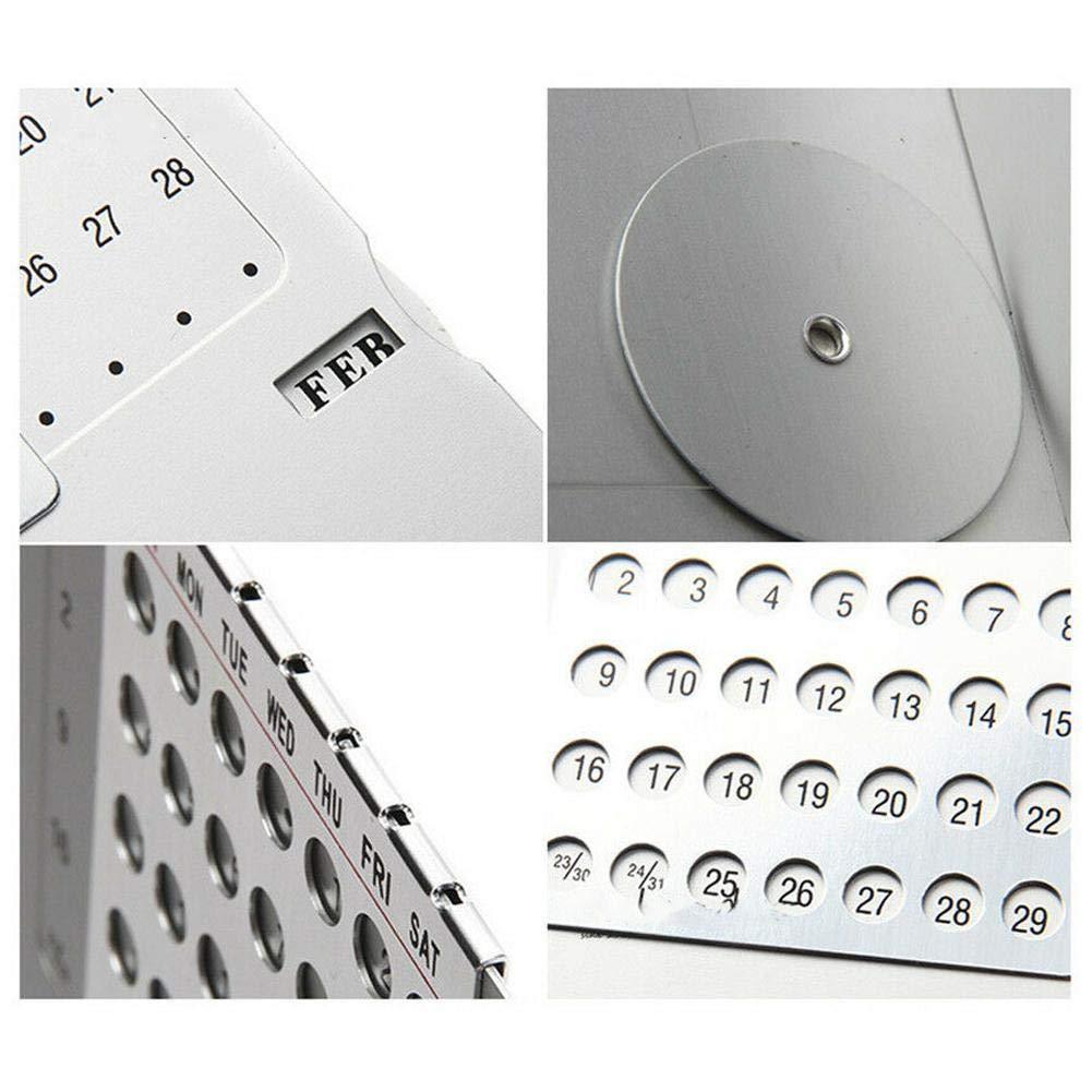 1Pc Creative Mini Ultra-Thin Metal Desk Calendar Super Perpetual Single 100 Years English Calendars