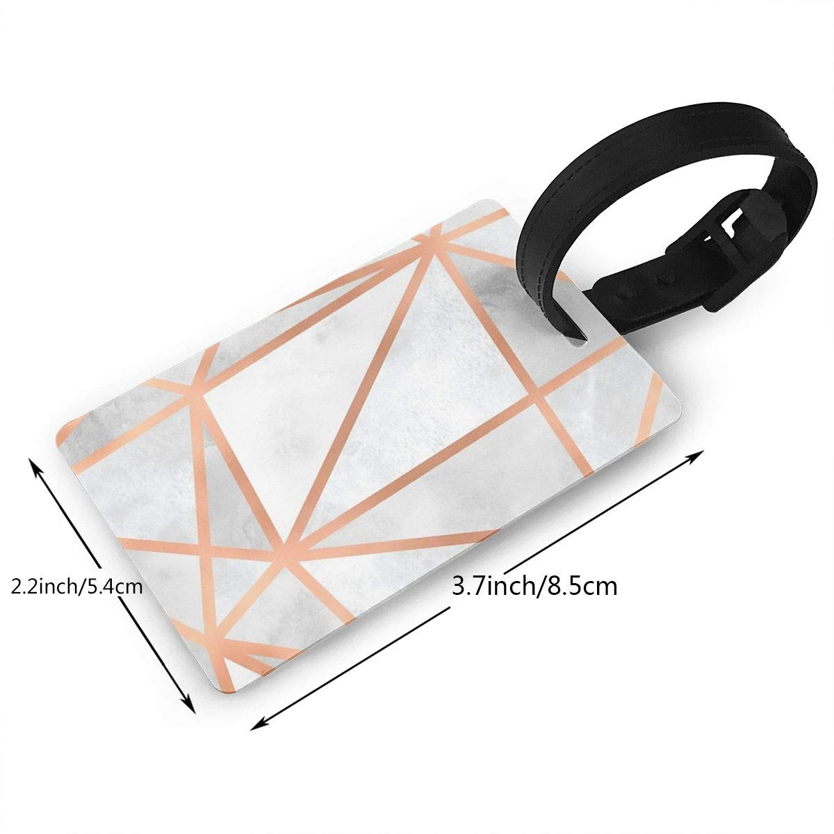 Set of 2 White /& Copper Geo Luggage Tags Suitcase Labels Bag Travel Accessories