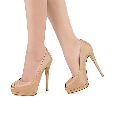 a0120c51e52c FSJ Women Sexy Solid Stiletto High Heels Peep toe Platform Pumps Slip On  Shoes for Party