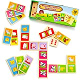 Imagination Generation Busy Barnyard Wooden Dominoes-Reversible Classic and Matching Games (28 Piece)