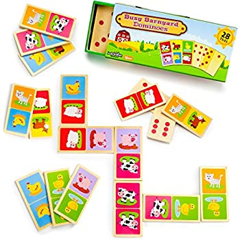 Imagination Generation Busy Barnyard Wooden Dominoes - Reversible! Classic and Matching Games (28pcs)