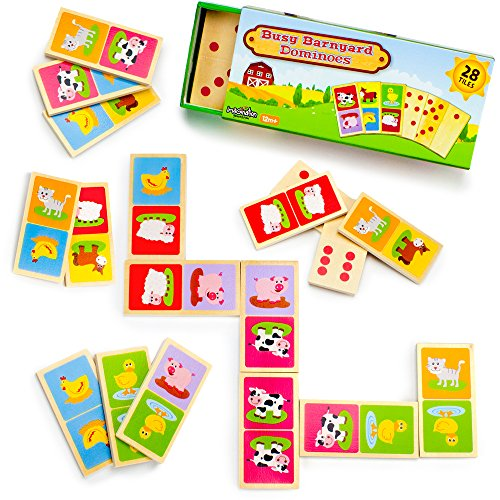 Busy Barnyard Wooden Dominoes - Reversible! Classic and Matching Games (Farm Animals Card Game)