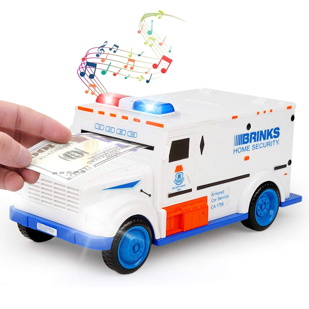 Sopu Electronic Money Bank, Kids Code Armored Car Password Piggy Banks, Mini ATM Cash Coin Bank with Lights and Music Money Safe Coin Box for Children Fun Toy by Sopu