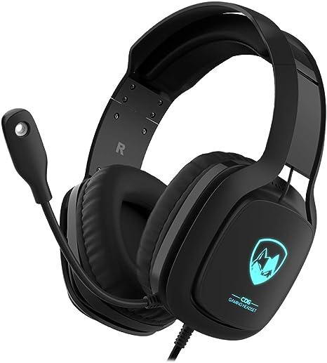 Cascos Gaming PS4 PC Xbox One, Maegoo Over Ear Auriculares Gaming con Microfono Luz LED Cancelación de Ruido 3.5mm Stereo Auriculares para PC PS4 Xbox One Nintendo Switch Laptop Tablet Mac Teléfono: