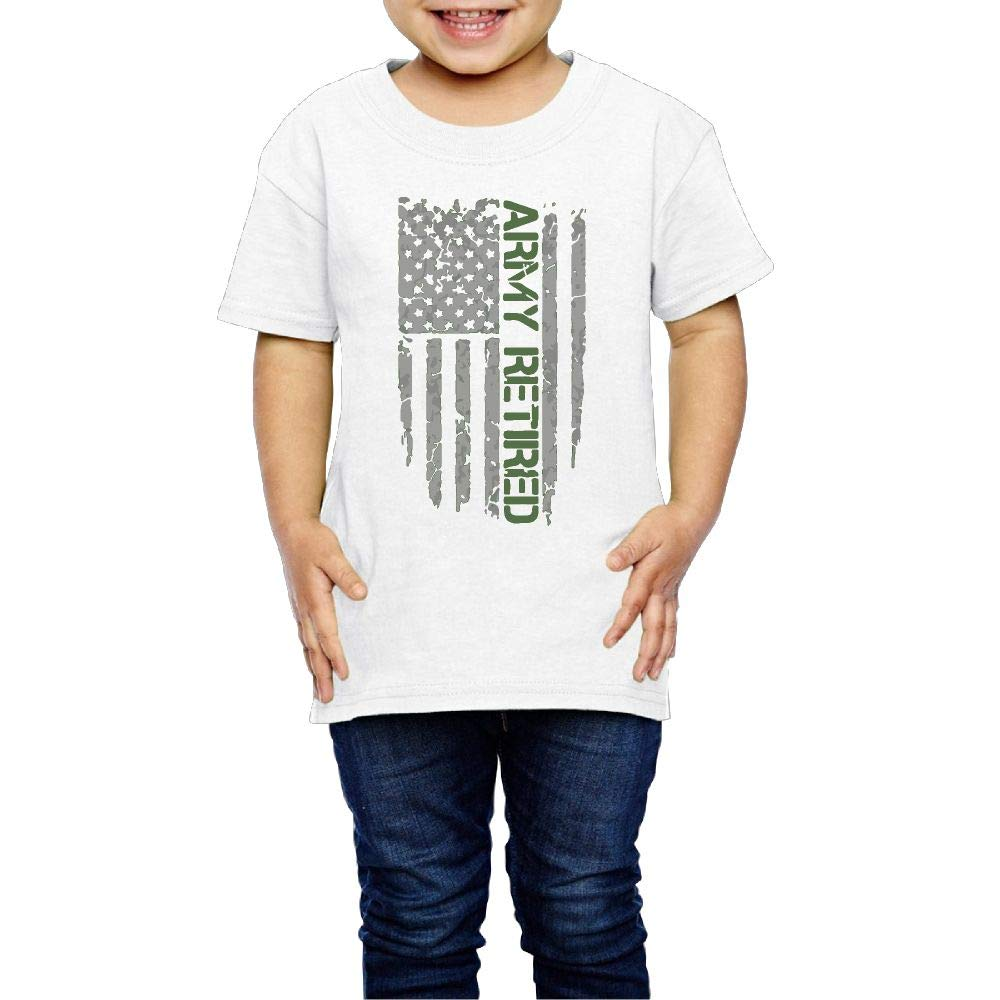XYMYFC-E Army Retired Flag 2-6 Years Old Kids Short Sleeve T-Shirt