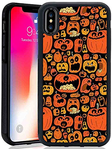 iPhone X Case, Sangkoo Halloween Pumpkin Various Expressions Pattern Design TPU and PC Rubber Case for iPhone X -