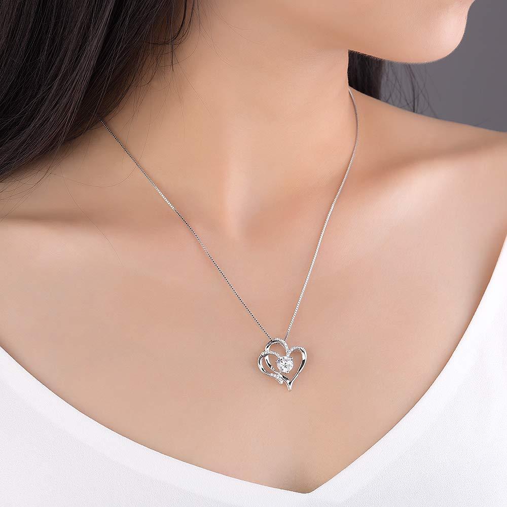 d584b74cbde Heart Necklace 14K White Gold Plated 5A Cubic Zirconia Pendant Necklaces  for women  Amazon.com.au  Fashion