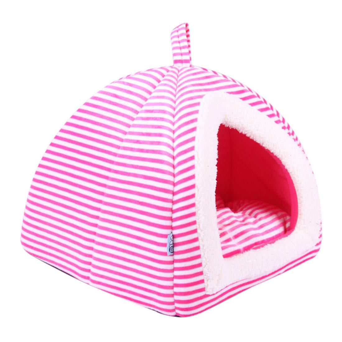 Pinji Niche Chat Chien Pliable Intérieur et Extérieur Portable Tente Maison Canapé Lit pour Animaux Domestiques Coussin Dehoussable Lavable Bleu M (36 * 36 * 42cm et Aminal est Moins de 4kg)