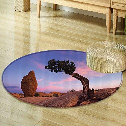 Juniper Tree Circle carpet By Nalahomeqq Bonsai Trees In Twilight Peaceful Nature Room Accessories Extralong-Diameter 130cm(51
