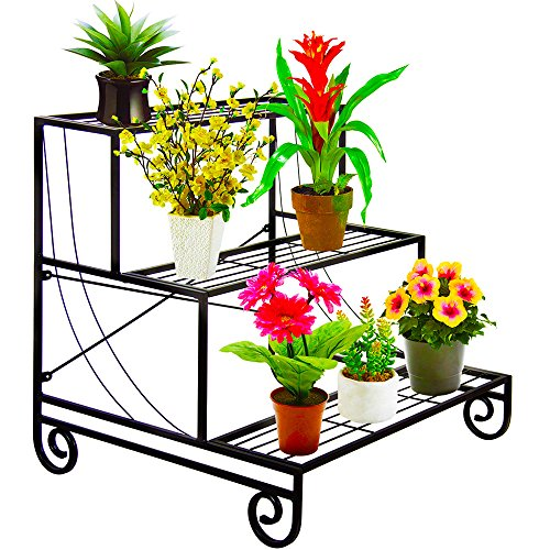 UNHO 3 Tier Metal Garden Plant Pot Stand Display Shelf Greenhouse Flower Pots Storage Planter Holder Flower Pot Rack Indoor Outdoor Decoration Black