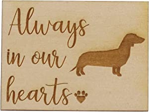 "Always in Our Hearts with Dachshund Dog - Memorial Refrigerator Magnet, Engraved Wood 2"" x 1.5"" Keepsake Gift"