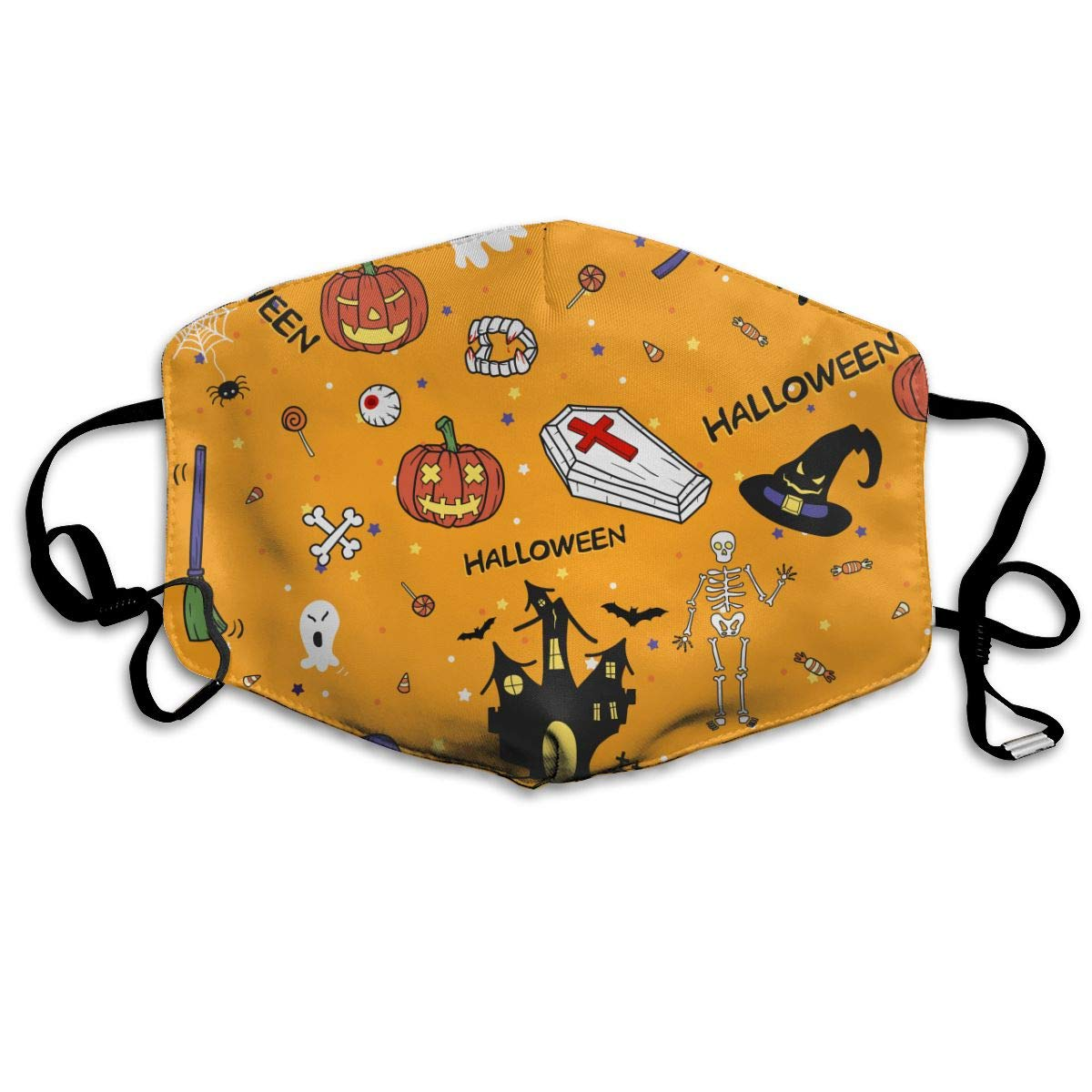 Unisex Happy Halloween Doodles Hand Drawn Printed Cotton Mouth-Masks Face Mask Polyester Anti-dust Masks