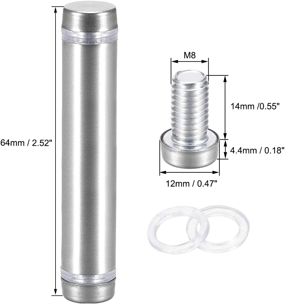 uxcell Glass Standoff Double Head Stainless Steel Standoff Holder 12mm X 64mm 6 Pcs