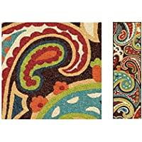1pc Indoor Outdoor Rainbow Floral Runner Rug, 23 Ft X 8Ft, Red Blue Green, Long Flooring Stain Resistant Long Narrow, Colored Flower Paisley Swirls Pattern Carpet Entrace Ways Hallway