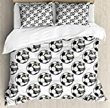 Soccer King Size Duvet Cover Set by Ambesonne, Cartoon Football Mascot with Happy Funny Face Expression Sports Game Play, Decorative 3 Piece Bedding Set with 2 Pillow Shams, Black White Yellow