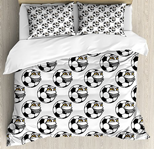 Soccer King Size Duvet Cover Set by Ambesonne, Cartoon Football Mascot with Happy Funny Face Expression Sports Game Play, Decorative 3 Piece Bedding Set with 2 Pillow Shams, Black White Yellow by Ambesonne