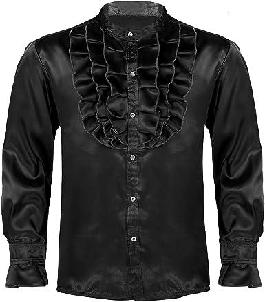 IEFIEL Camisa Gótica Vintage para Hombre Camisa Jabot Ruffles ...