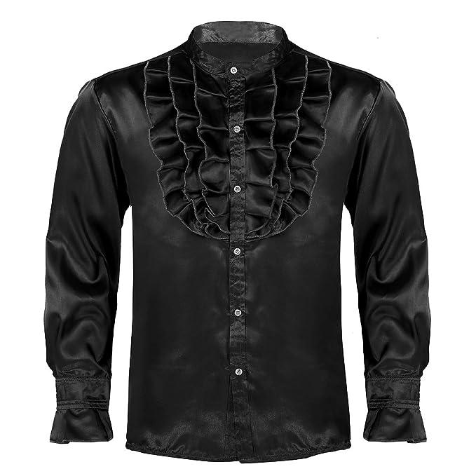 dPois Camisa con Jabot Volantes para Hombre Camisa Gótica de ...