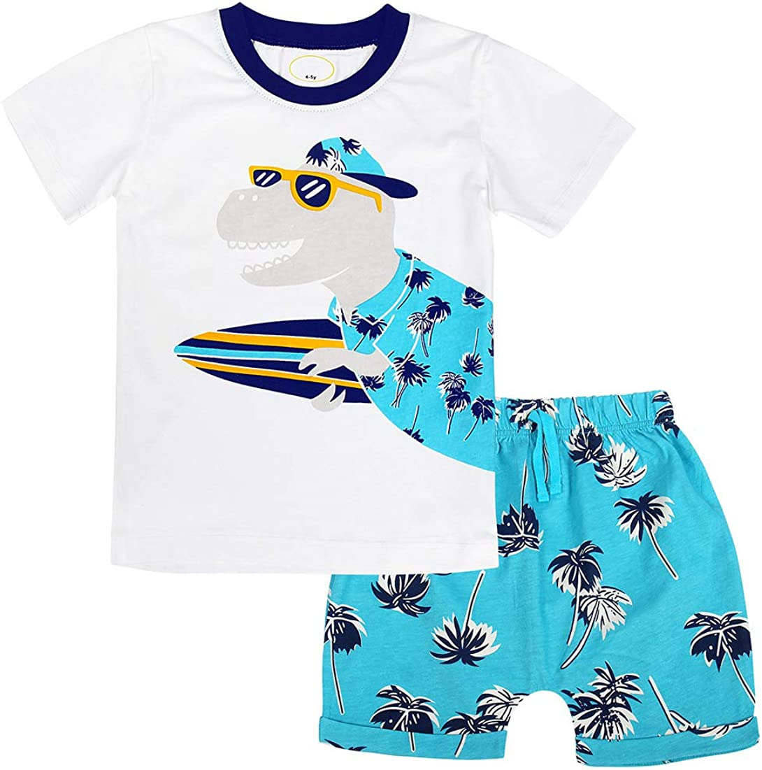 AmzBarley 2Pcs Toddler Boys Cartoon Truck Tee and Shorts Set Summer Outfits Set