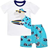 Cotrio Newborn Baby Boys 2-Pieces Outfit Set Kids Short Sleeves T-Shirt + Shorts Clothes Set