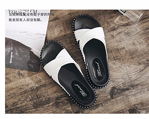 bottomed slippers Fashion worn Korean shoes summer out slippers White by flat beach women's XIAOGEGE 0Zw5qZ