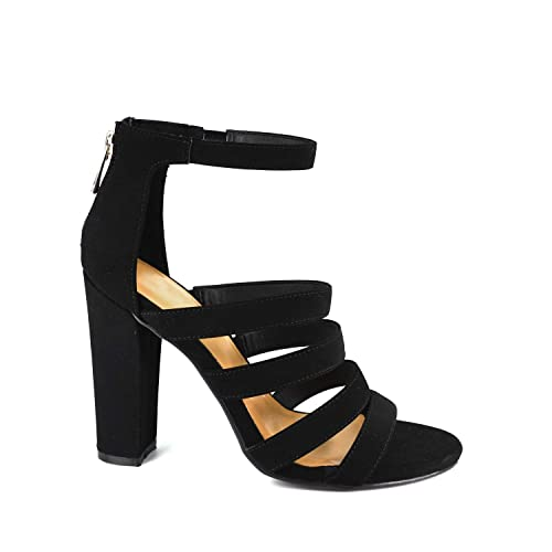692d3b84183 Amazon.com | BAMBOO Womens Open Toe Strappy Ladder-Up Chunky Heel ...