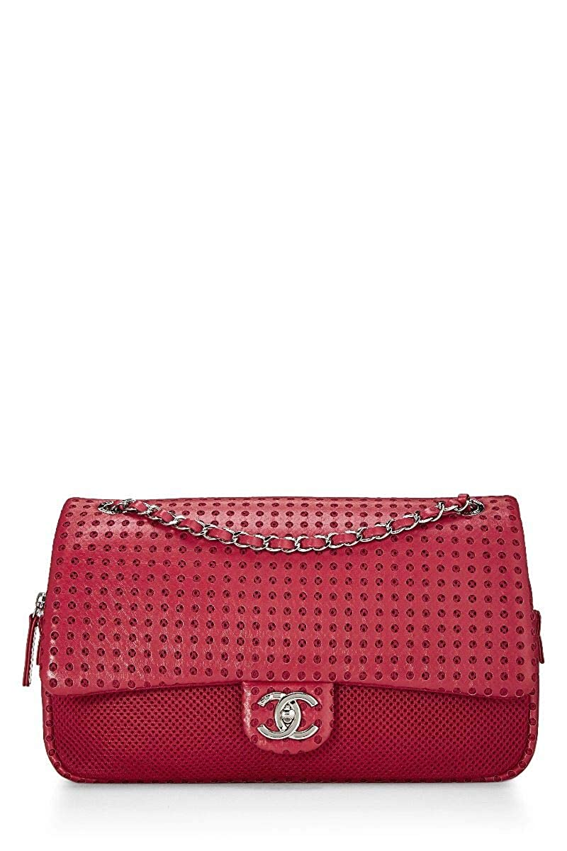 CHANEL Red Perforated Lambskin & Mesh Easy Flap Jumbo (Pre-Owned)