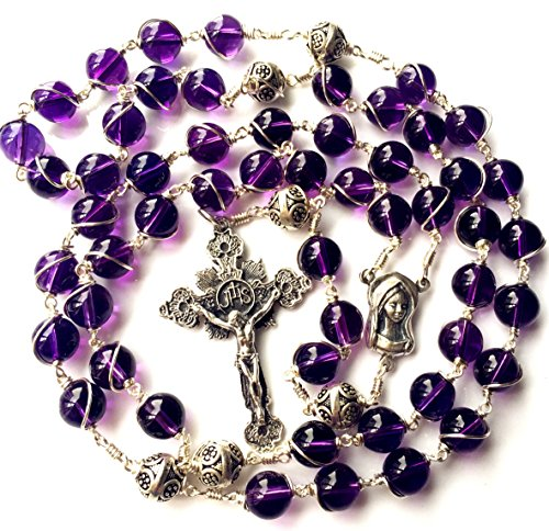 elegantmedical Sterling Silver Wire Wrap Amethyst Prayer Beads Catholic Rosary Necklace Gift -