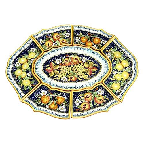 CERAMICHE D'ARTE PARRINI - Italian Ceramic Big Appetizer Tray Plate Pottery Fruit Painted Made in ITALY Tuscan