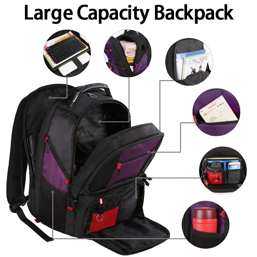Extra Large Backpack,TSA Friendly Durable Travel Computer Backpack with USB Charging Port//Headphones Hole for Men/&Women,Water-Resistant Big Business College School Bookbag Fits 17 Inch Laptop/&Notebook