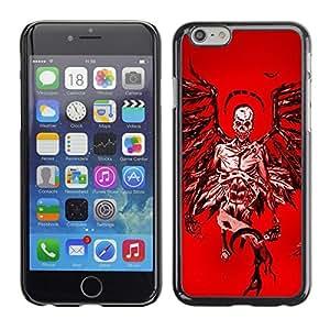 Ihec Tech Ángel de la Muerte Roja Sangre Alas Cráneo / Funda Case back Cover guard / for Apple Iphone 6 Plus 5.5